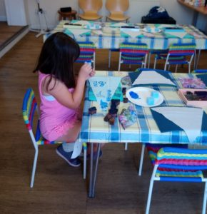 small child block printing at one of my little pink sheds workshops